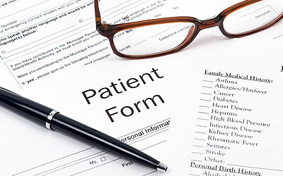 Closeup of patient forms